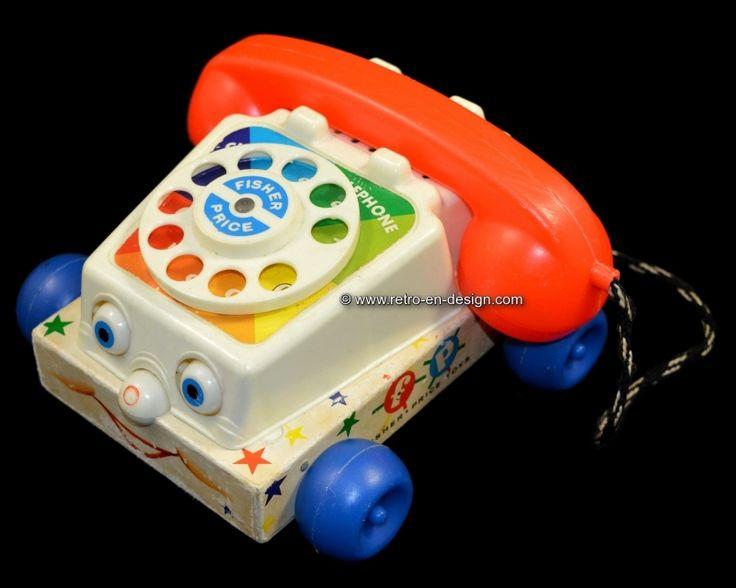 "Originele vintage Fisher-Price speelgoed telefoon ""Chatter"" uit 1961"