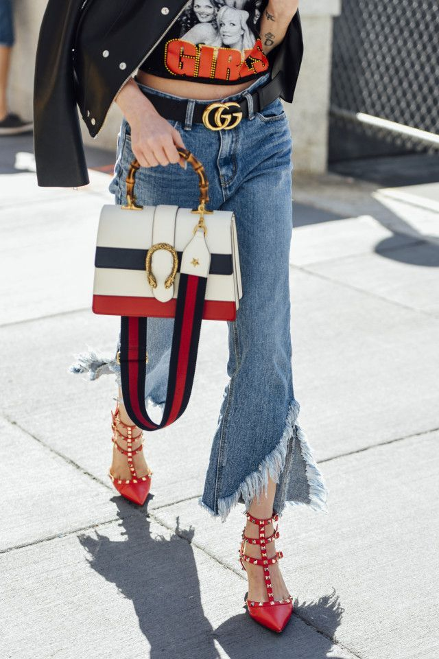 Valentino rockstud heels, Gucci belt and bag, cropped frayed denim. Street Style 2017