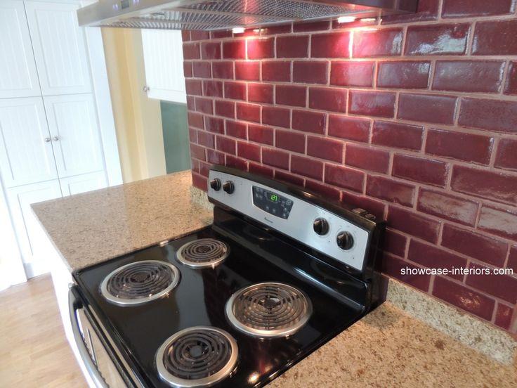 Red Subway Tile Backsplash Kitchen