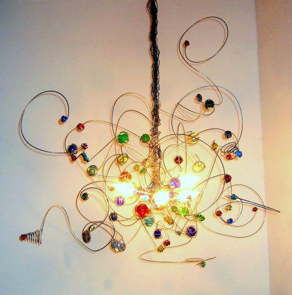 Draht Kronleuchter Bunt, Glas, LED/Halogen Kerzen von DutchLights auf DaWanda.com