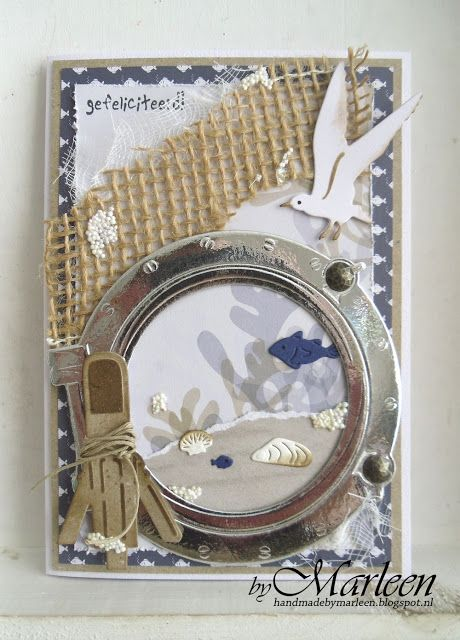 Handmade card by DT member Marleen with Craftables Tiny's Ocean Set (CR1279), Punch Die - Sea Shells (CR1363), Punch Die - Fish (CR1364) and Creatables Porthole (LR0417) from Marianne Design