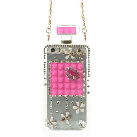 Bracevor Bling Diamond Lip Flower Perfume Bottle TPU Handbag Case for iPhone 5s 5 - Rose