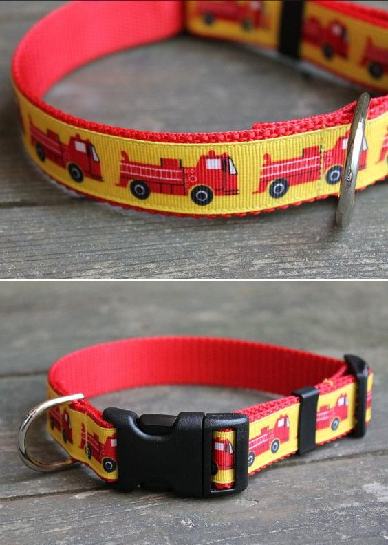 "1"" Fire Engine High-Quality Webbing Dog Collar (available in small, medium and large) 