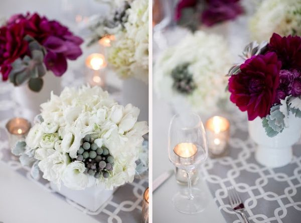Beautiful gray, cream & burgundy wedding centerpiece decorations.