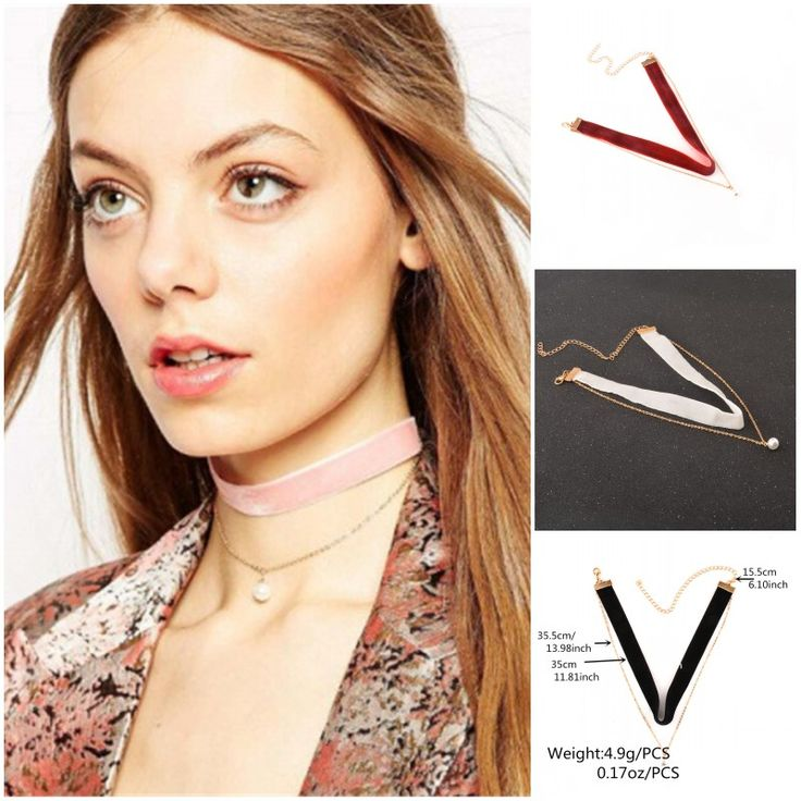 Women Chocker Gothic Black Red White Pink Velvet Choker Necklace Imitation Pearls Charm Pendant Ladies Collar Handmade Jewelry
