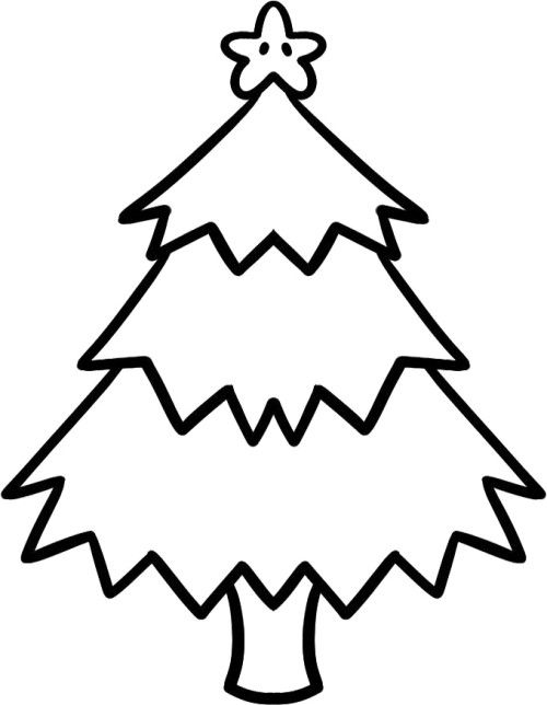 A Christmas Tree In A Star Garnish With Cute Coloring Page