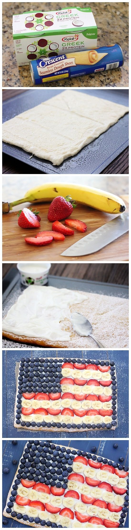 Fruit Flag Pizza for the Fourth of July