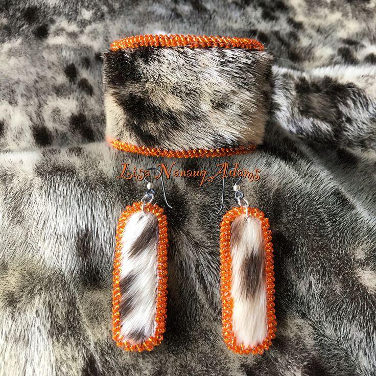 #beaded #spotted #sealskin #cuff #bracelet #earrings #orange #shelovesorange #inupiaq #inuit #indigenousart #bling #justmiquq