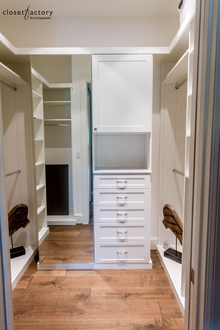A Small Walk In Closet Was Transformed Into A Simple And Clean White  Melamine Dressing