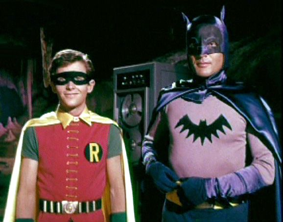 Adam West and Burt Ward in their Batman and Robin screen test costumes -- note the old-style Bat symbol