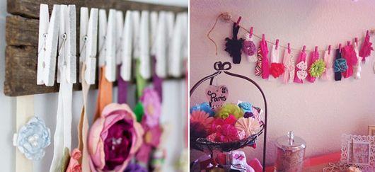 Especialmente no quarto das crianças, funciona muito bem organizar faixas com o auxílio de grampos de roupa - Ademilar