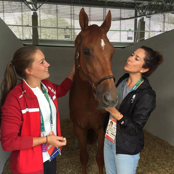 Crown Princess Mary of Denmark visits the Denmark Olympic Equestrian team in Rio