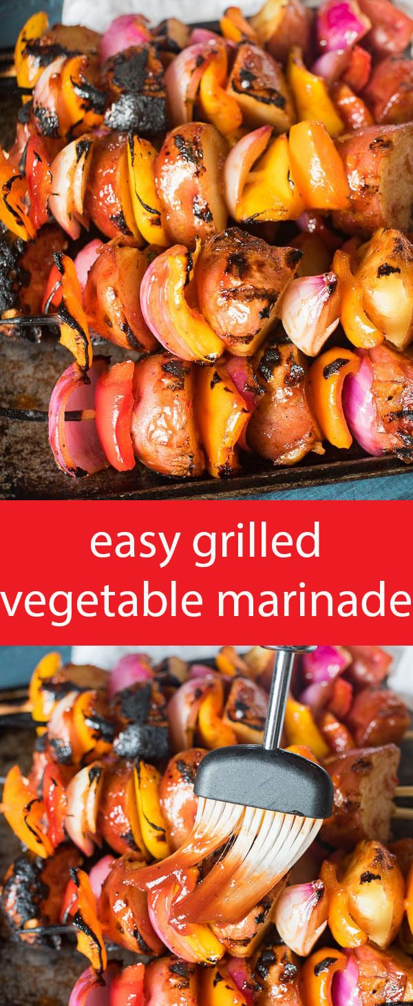 Just two ingredients make up the sauce in this easy grilled vegetable marinade. Add potatoes, peppers, onions and zucchini. Add all your favorite veggies! via @tastesoflizzyt