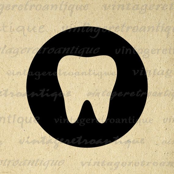 Printable Tooth Digital Image Tooth Icon by VintageRetroAntique