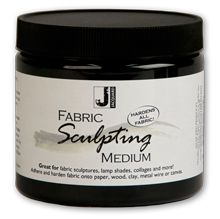 Jacquard Fabric Sculpting Medium - make fabric sculptures and much more. Try stiffening fabric onto paper, wood, clay, metal wire or canvas. It can also be used as a fabric glue.Dip fabrics into the medium, drape, wrap or lay the material around a wire figure, armature or object and allow it to dry.