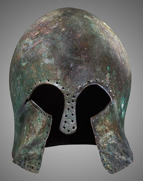 Greek Bronze Corinthian Helmet, the Nasal Bar Restored. This and more ancient armor for sale on CuratorsEye.com