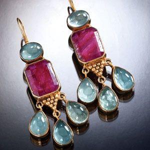Ruby & Aquamarine Drop Earrings