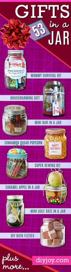 http://diyjoy.com/diy-gifts-in-a-jar Love the s'more jar, pair that with hot cocoa and it's  the prefect gift.