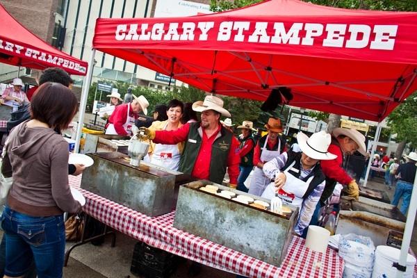 Calgary Stampede Caravan Pancake Breakfast - Hundreds of free pancake breakfasts take place across the city.