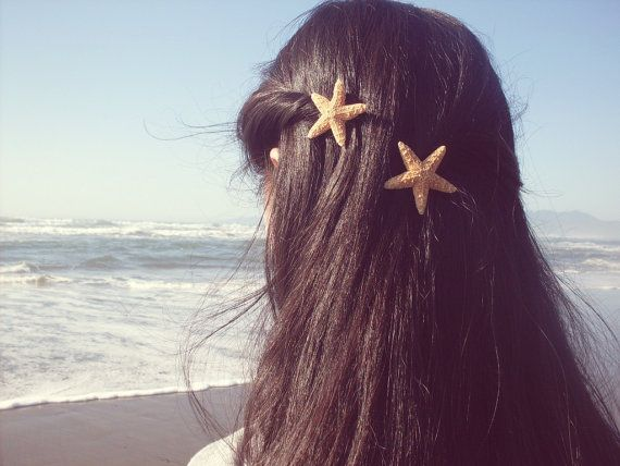 .:*Starfish Barrettes. Starfish Hair Clips. Starfish Hair Accessories for the Beach Bride. Mermaid Collection*:.    You will receive a set of two