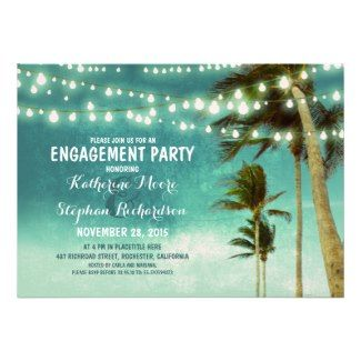 Teal Ombre Beach Engagement Party Invitations #engagement #wedding #tropicalpapers