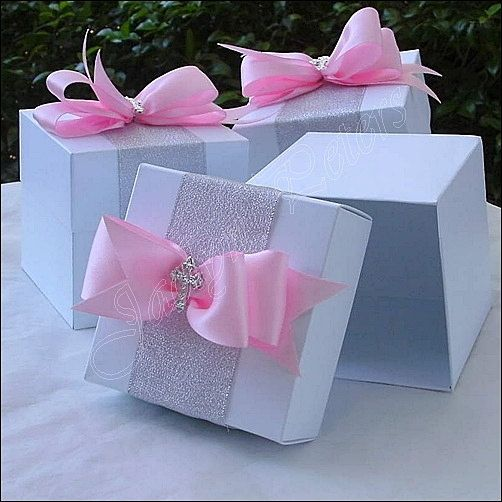 Girls Communion, Baptism Two Piece White Favor Box With Satin Bow Silver Cross, Cupcake Box