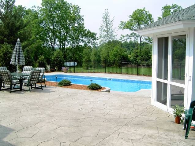 Rochester ny stamped concrete pool deck rochester ny for Pool design rochester ny