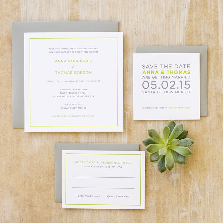 Calligraphy and Design by: Lowcountry Paper Co. | Modern Wedding Invitations | Gray + Green Letterpress | Santa Fe