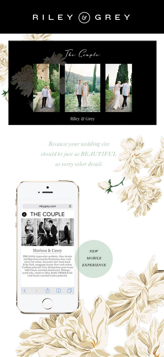 Riley and Grey wedding websites | 100 Layer Cake (wedding website examples, designs, templates, wedding app, invitation, save the date)