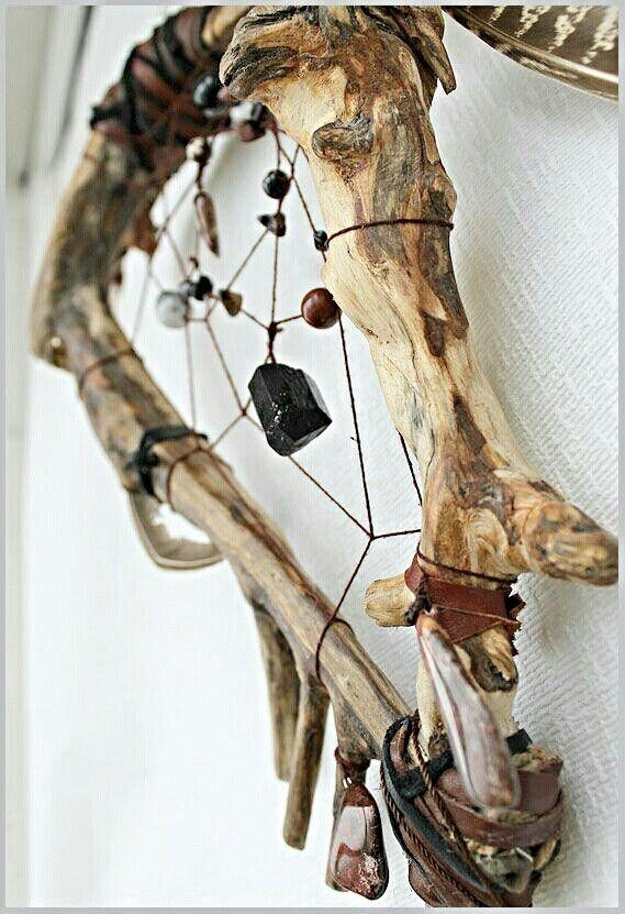 driftwood, beaded dream catcher