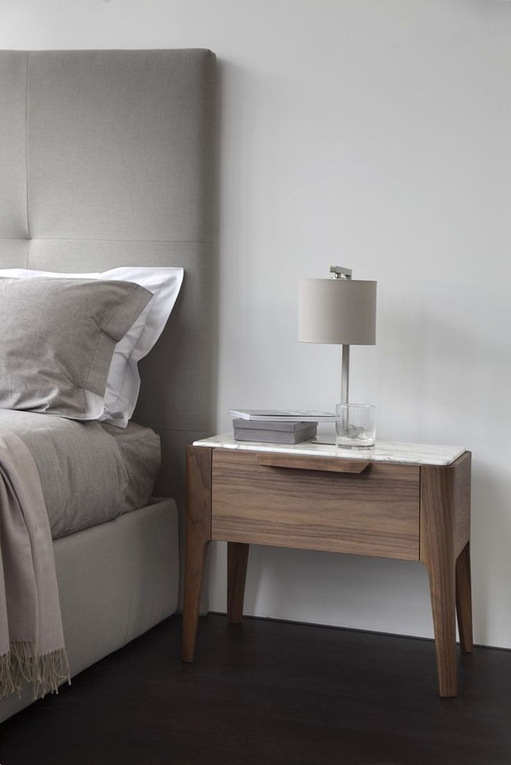 Small white table lamp - Marble Top Of Wooden Bedside Table Ziggy Night