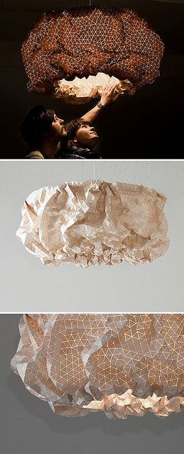 "Miss Maple is a billowing, illuminated wooden cloud that is adjustable. The form looks completely different ""on"" and ""off,"" which I love. Designed by Elisa Strozyk."