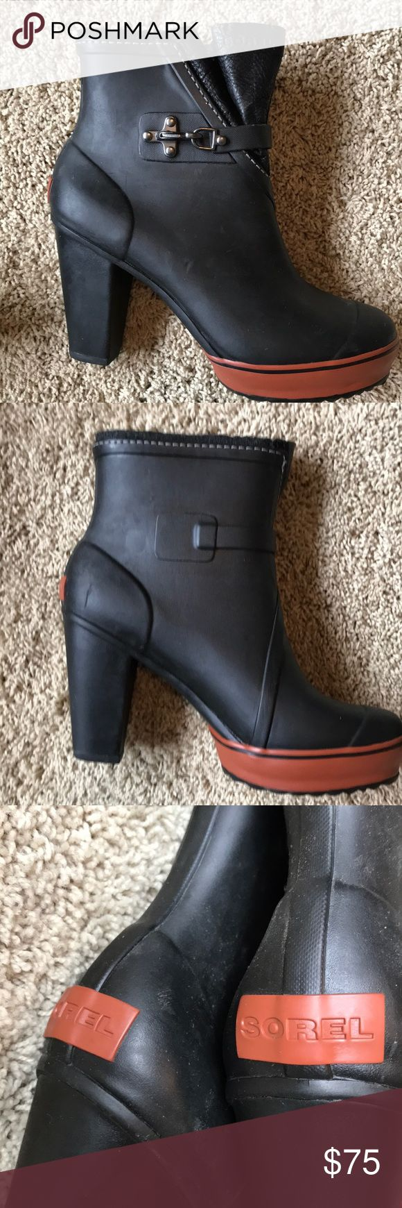 Sorel Rain Boots Worn twice. Fully waterproof. Platform with 4 inch heel. Gorgeous but my knee just can't take the heel. Sorel Shoes Winter & Rain Boots