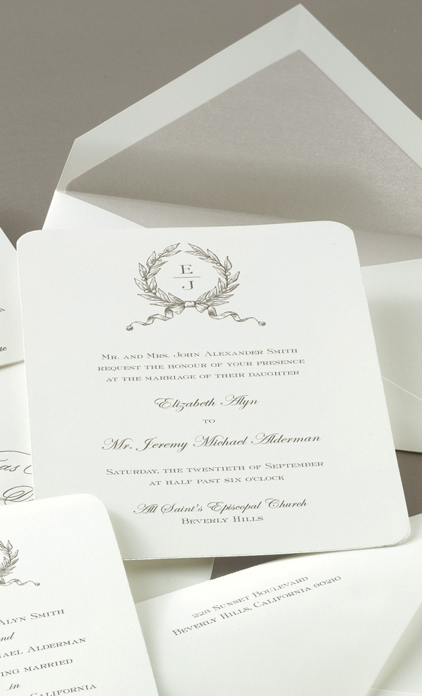moroccan scroll wedding invitations%0A William Ashley presents the Silver Gilt Edge Invitation by Crane  Printed  by engraving or thermography