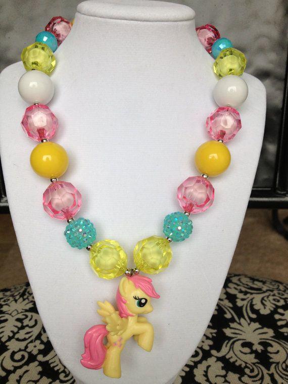 Little Girls Fluttershy My Little Pony necklace :)
