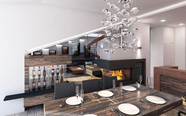 Aby interiér působil moderním a zároveň rustikálním dojmem, navrhli jsme nábytek a obklady stěn z reliéfních dýhovaných panelů v kombinaci se skleněnými prvky.