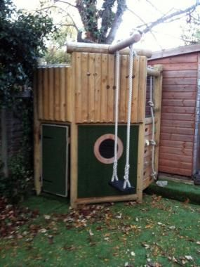 Wooden Climbing Frame fits into a corner