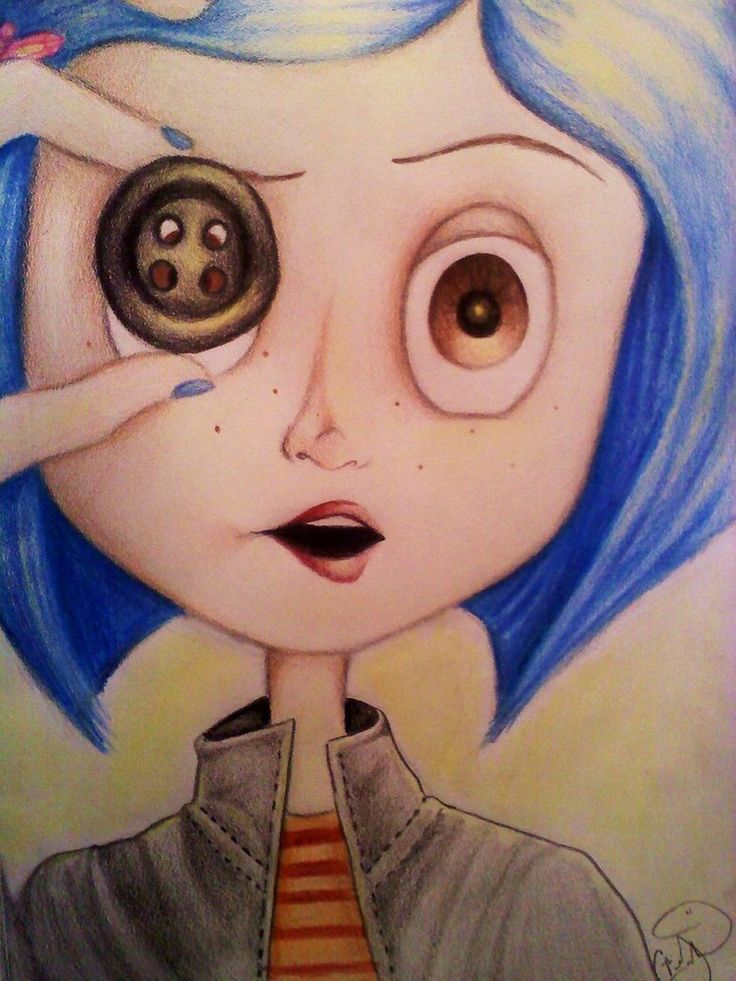 Coraline Fanart Illustration. Family Favorite Movie. So spooky but gotta love plucky coraline. #coraline #movie