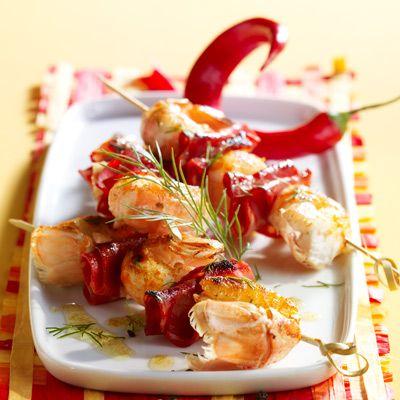 Banderilles de langoustines et de chorizo à la Plancha @Cuisine actuelle