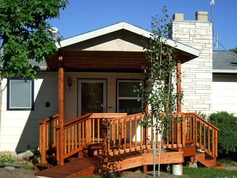 Covered front porch and wheelchair ramp porch deck for Ada mobile homes