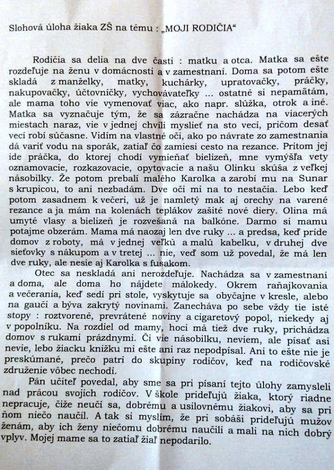 Slovenský žiak na základnej škole napísal vtipnú slohovú prácu na tému: Moji Rodičia