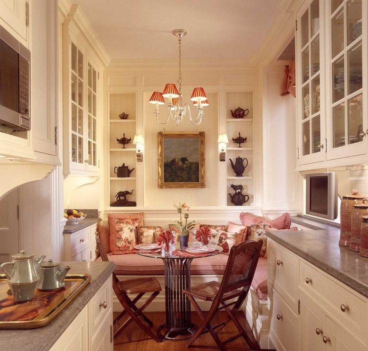 Color Cabinets Countertops Banquette Everything In This Cozy Kitchen