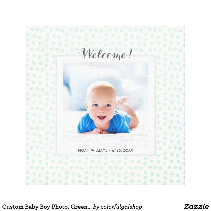 Custom Baby Boy Photo, Green Polka Dot Nursery wall art.  Unique baby gift for a boy