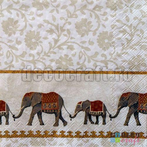 Servetele cu animale : Servetele - Lantul elefantilor - 33x33cm, 4 buc #Tehnica_servetelului #decoupage #servetele_colectie #servetele #servetele_decoupage