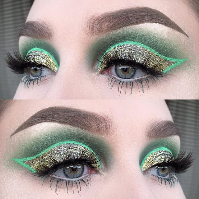 I used @suvabeauty eyeshadows clover club and blue lagoon from the cupcakes and monsters palette | @limecrimemakeup velvetine alien and superfoil electric | @dependcosmetic two pair of alayah lashes | @inglot_cosmetics kohl pencil 05 and green mascara | @anastasiabeverlyhills dipbrow pomade in taupe | and a tiny splash of gold glitter from REQ✨  #vegas_nay #wakeupandmakeup #fiercesociety #hudabeauty #dressyourface #makeupartistsworldwide #makeupartist #mua #makeupmafia #limecrime #suvabeauty