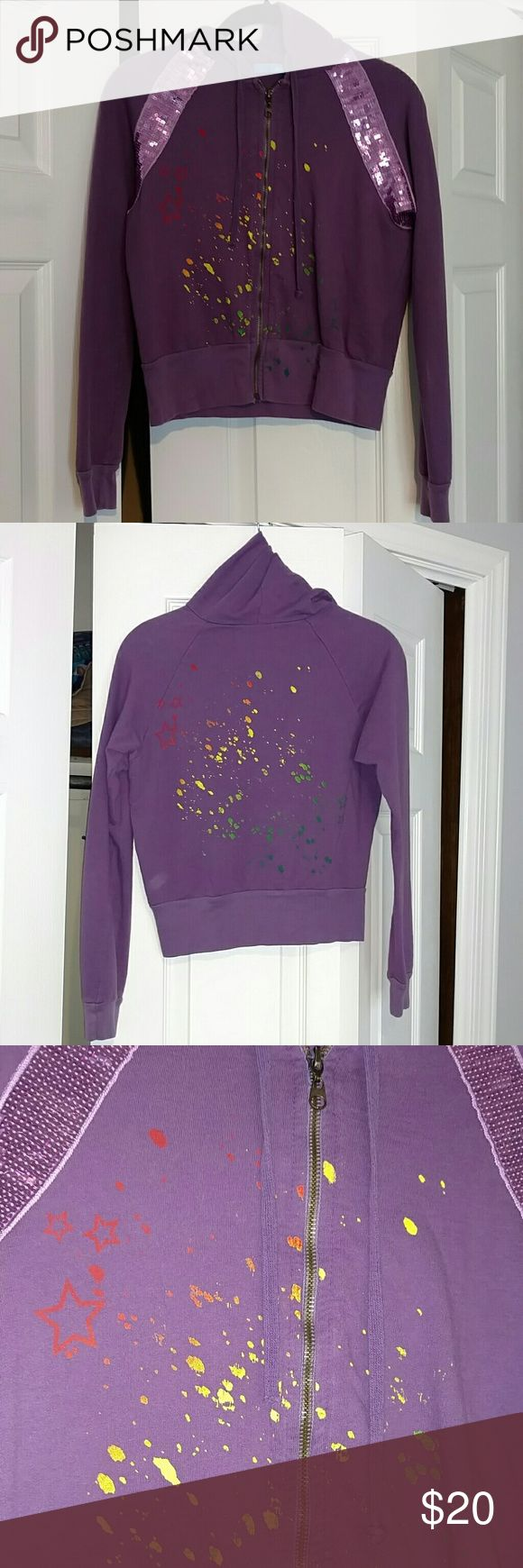 Delia's Zip Up Hoodie M Excellent condition, purple zip up hoodie from Delia's.  Sequin details, and paint splatter on front and back.  This is such a cute hoodie! Delia's Tops Sweatshirts & Hoodies