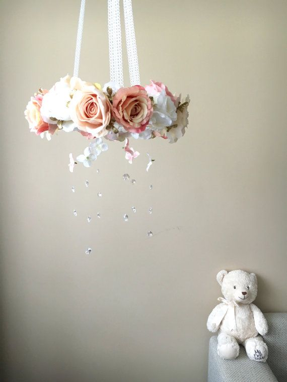 Floral mobile Baby mobile Flower mobile with by PaulettaStore