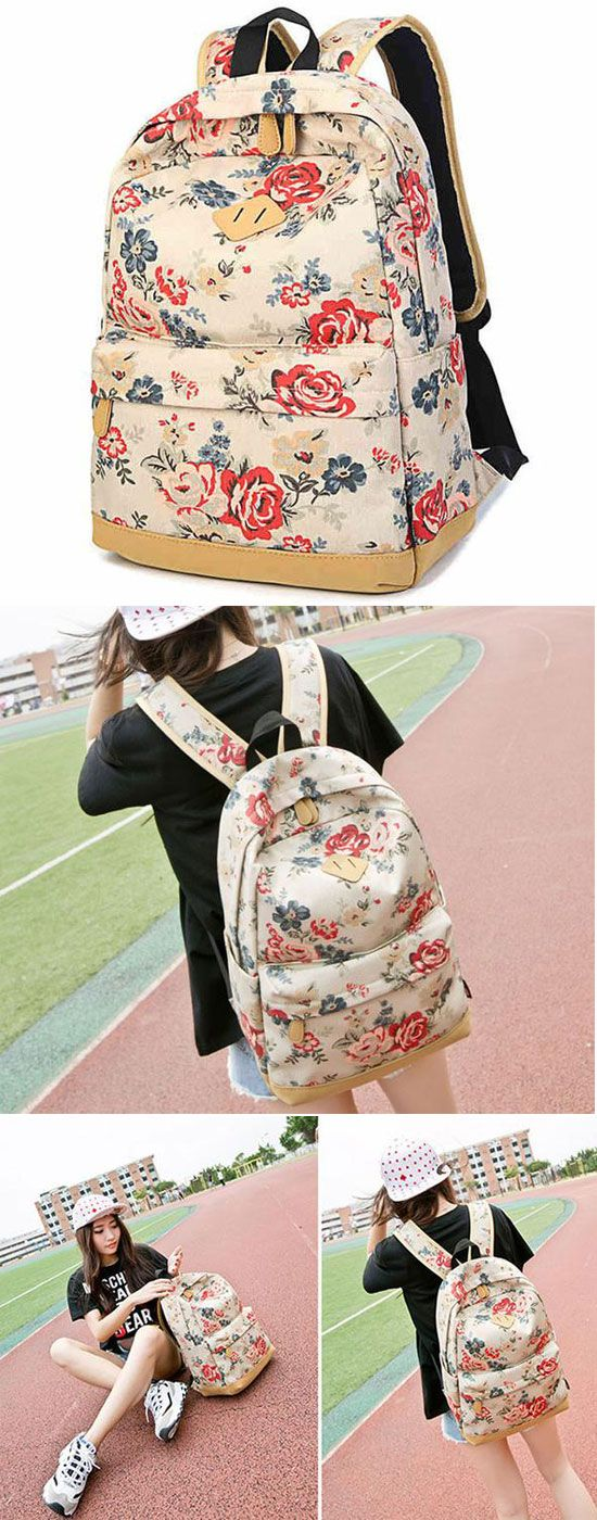 Fashion Large Capacity Travel Backpack Girl's Canvas Printing Rose Flowers School Backpacks for big sale! #flower #school #rose #backpack #bag #canvas