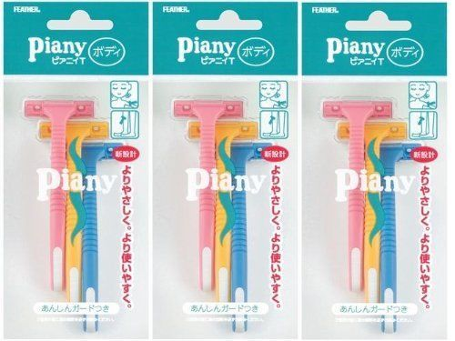 FEATHER Razor Guard Piany T for Body Ladies Women 3pcs×3 Made in Japan #FEATHER