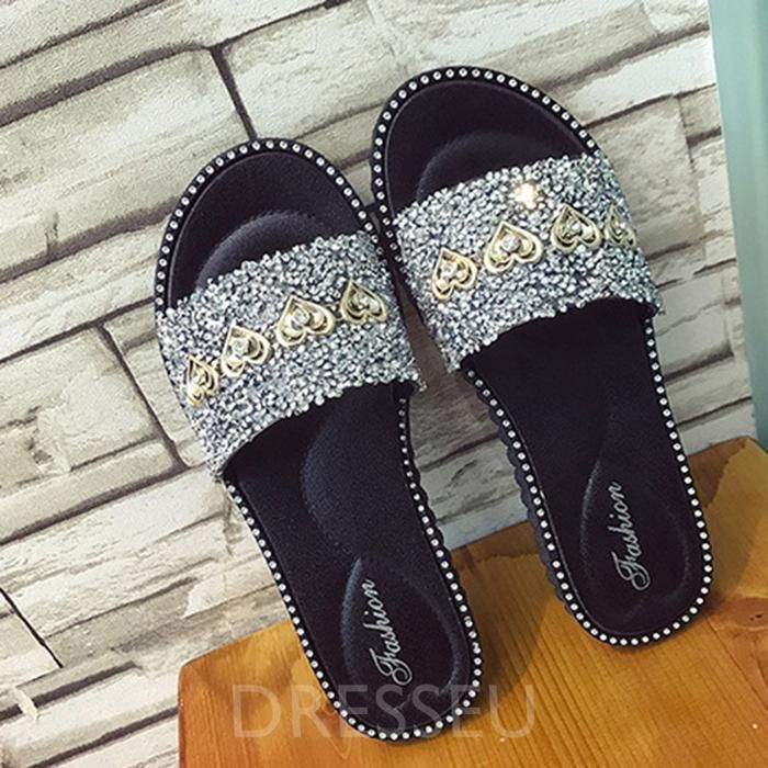 Rhinestone Slip-On Flat With Flip Flop Casual Summer Slippers
